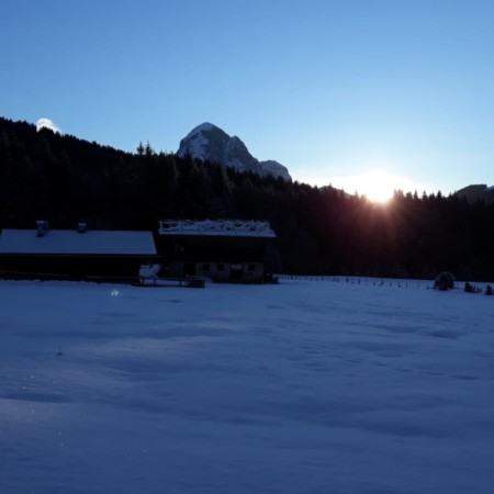 il sorgere del sole in Val Visdende
